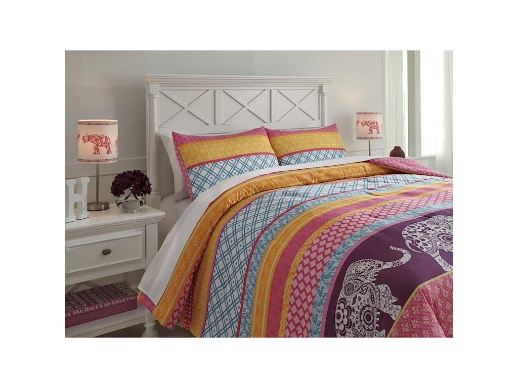 Signature Design by Ashley Bedding SetsFull Meghana Pink/Orange Comforter Set