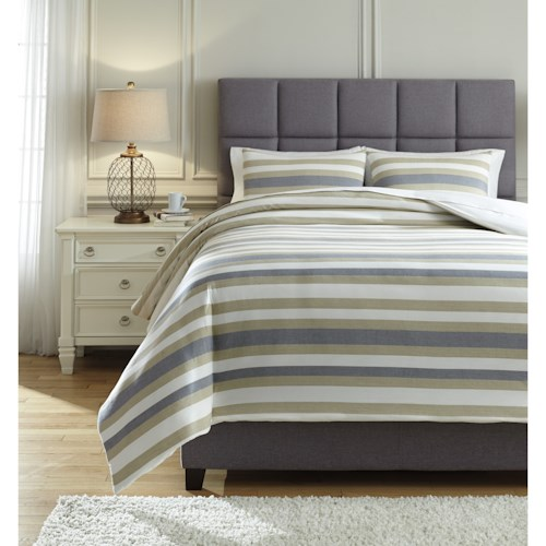 Signature Design by Ashley Bedding Sets Queen Isaiah Gray/Tan Comforter Set