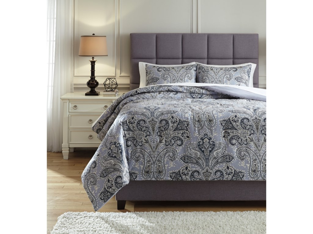 Signature Design by Ashley Bedding SetsQueen Susannah Blue/Cream Comforter Set
