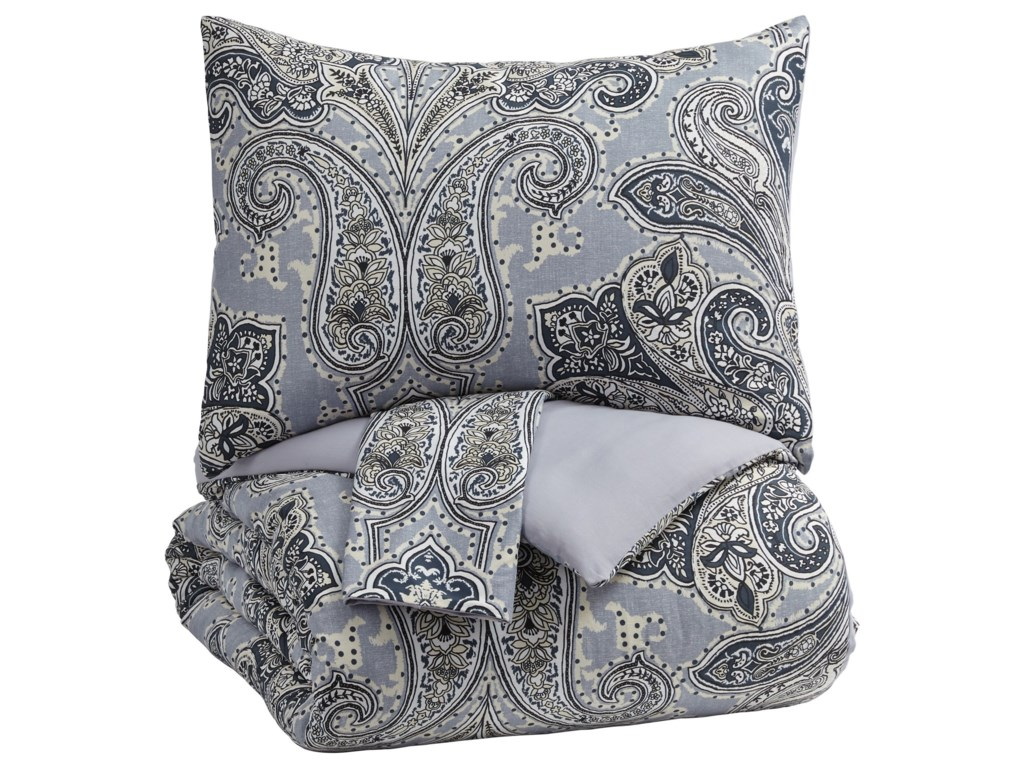 Signature Design by Ashley Bedding SetsKing Susannah Blue/Cream Comforter Set