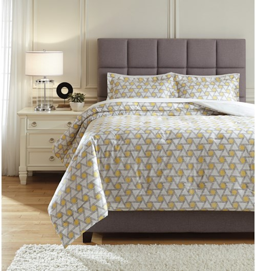 Signature Design by Ashley Bedding Sets Queen Clio Yellow/Black Comforter Set