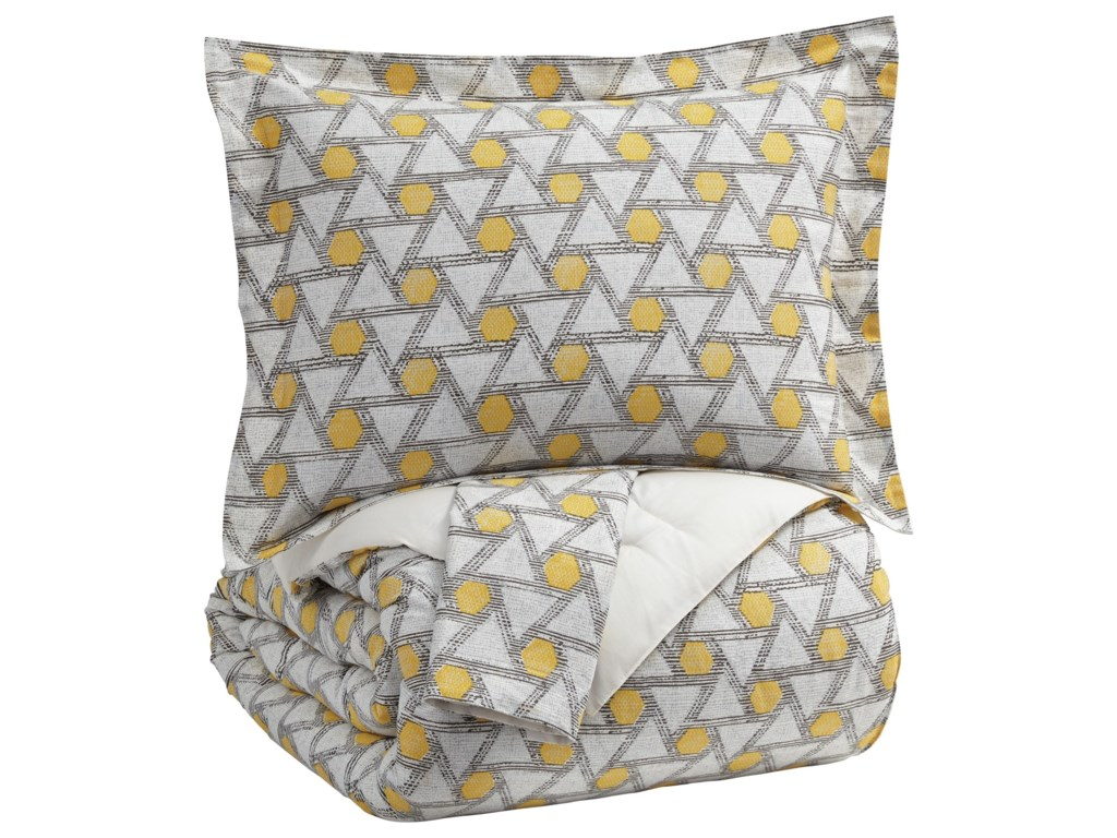 Signature Design by Ashley Bedding SetsQueen Clio Yellow/Black Comforter Set