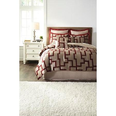 Queen Aiza Wine Comforter Set