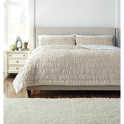 Signature Design by Ashley Bedding Sets King Stitched Beige Comforter Set