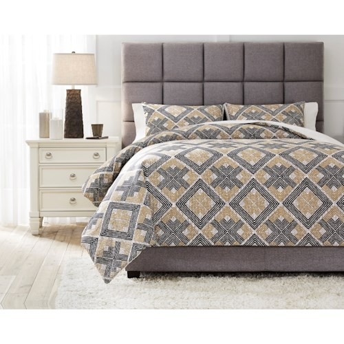 Signature Design by Ashley Bedding Sets King Scylla Brown/Black Comforter Set