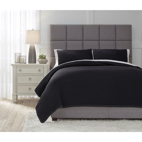 Signature Design by Ashley Bedding Sets Queen Thornam Black Coverlet Set