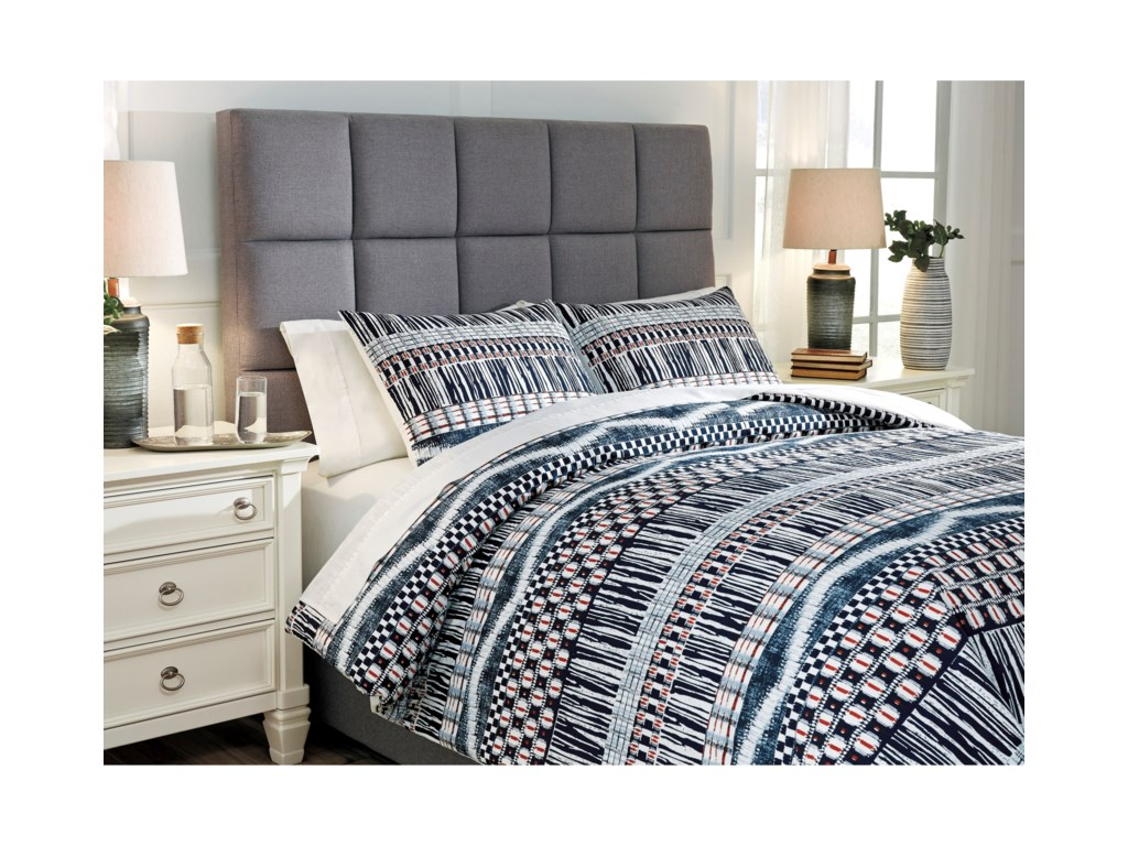 Signature Design by Ashley Bedding SetsShilliam Navy/Rust King Comforter Set