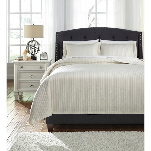 Signature Design by Ashley Bedding Sets Queen Raleda Buff Coverlet Set