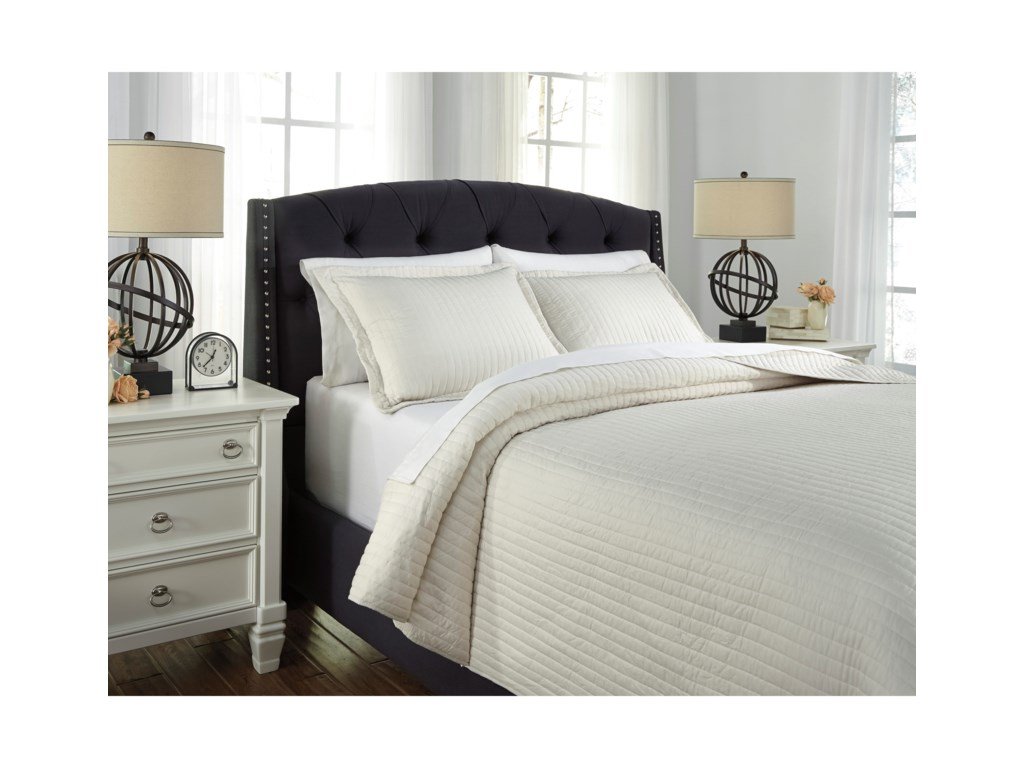 Signature Design by Ashley Bedding SetsKing Raleda Buff Coverlet Set