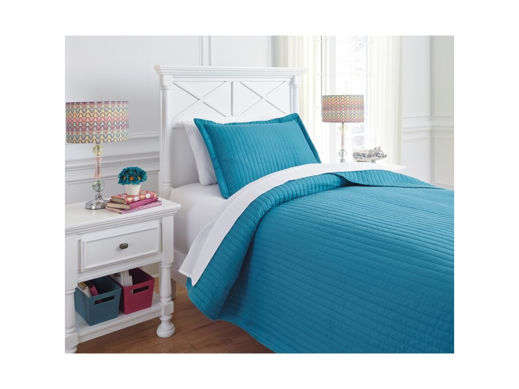 Signature Design by Ashley Bedding SetsTwin Raleda Turquoise Coverlet Set