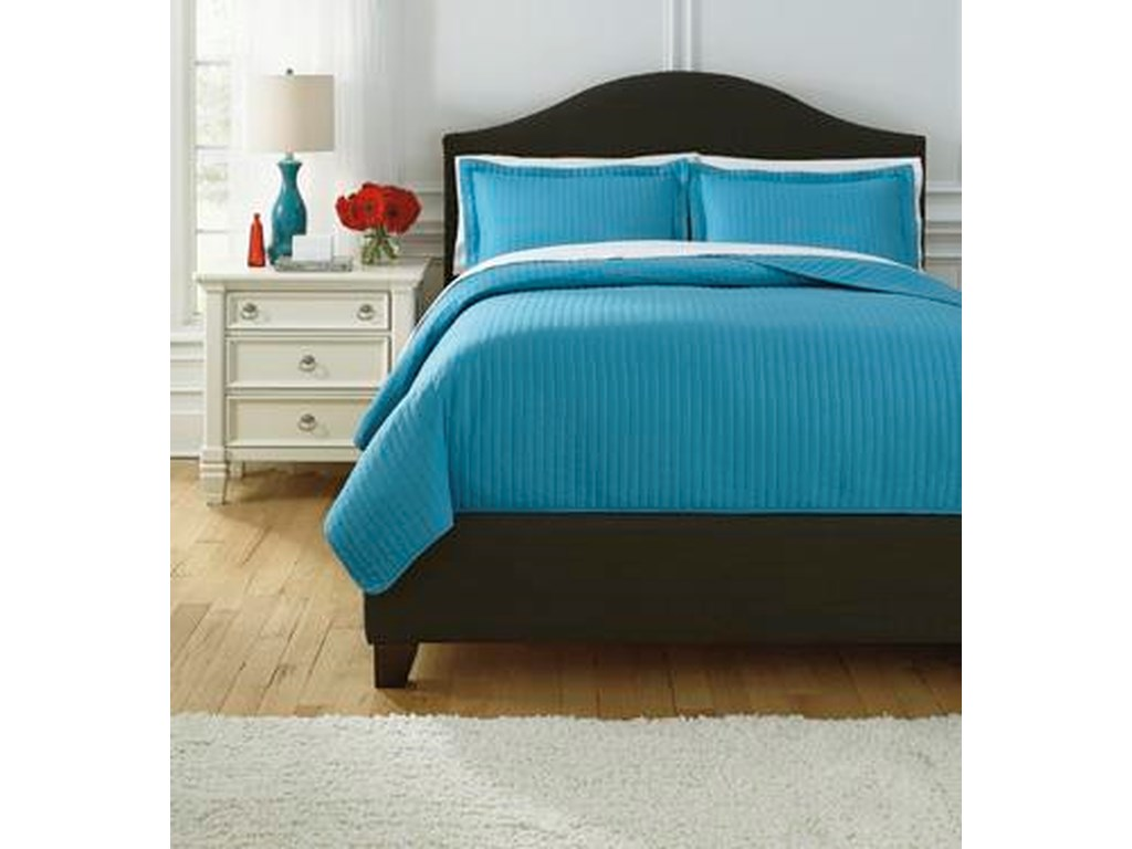 Signature Design by Ashley Bedding SetsKing Raleda Turquoise Coverlet Set