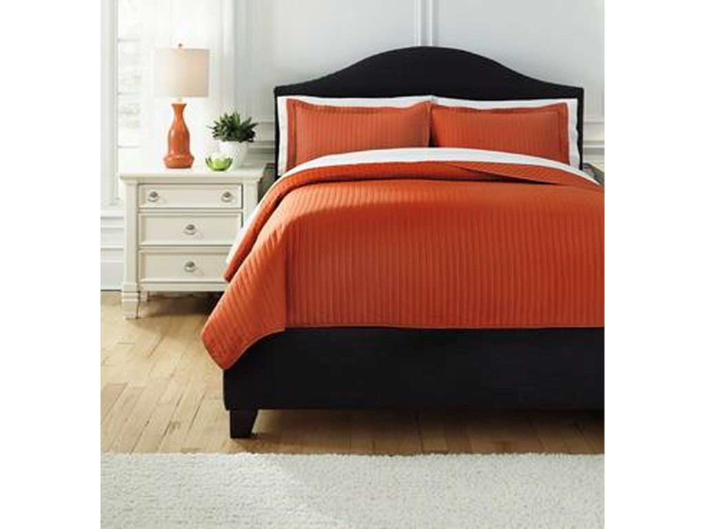 Ashley (Signature Design) Bedding SetsQueen Raleda Orange Coverlet Set