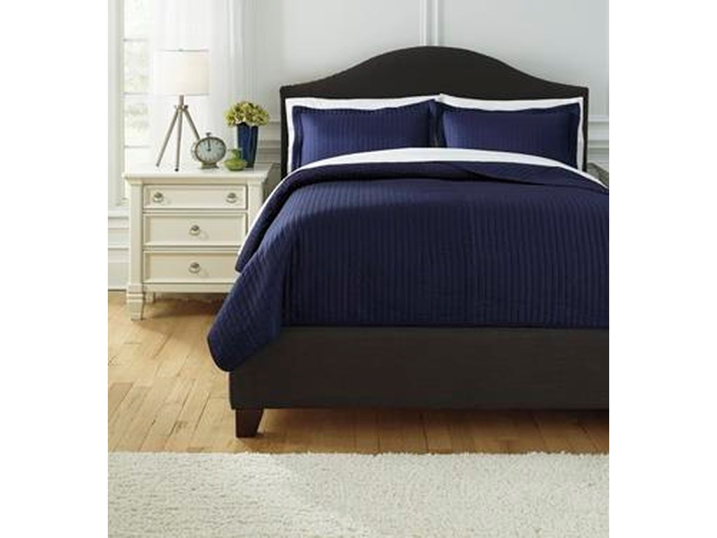 Ashley (Signature Design) Bedding SetsQueen Raleda Navy Coverlet Set