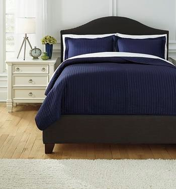 Signature Design by Ashley Bedding Sets Queen Raleda Navy Coverlet Set