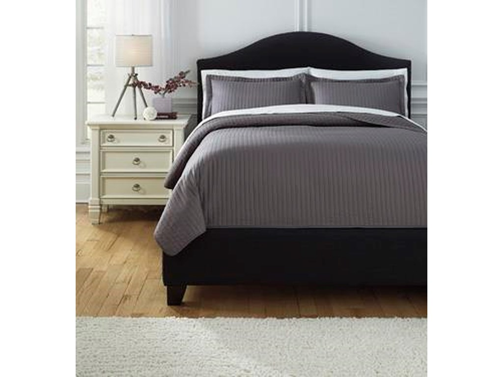Signature Design by Ashley Bedding SetsKing Raleda Gray Coverlet Set