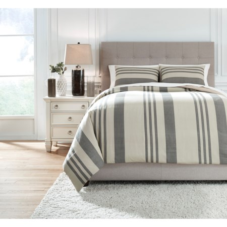 Queen Schukei Natural/Charcoal Comforter Set