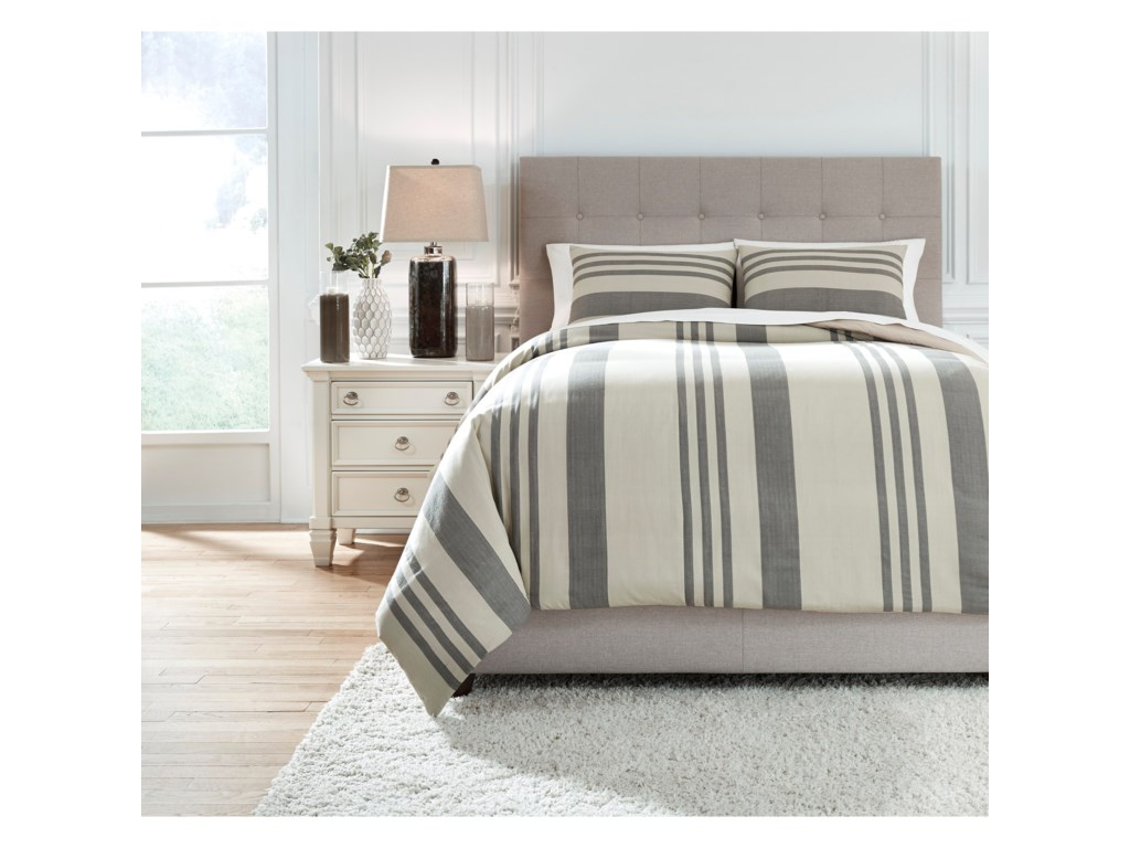 Signature Design by Ashley Bedding SetsKing Schukei Natural/Charcoal Comforter Set