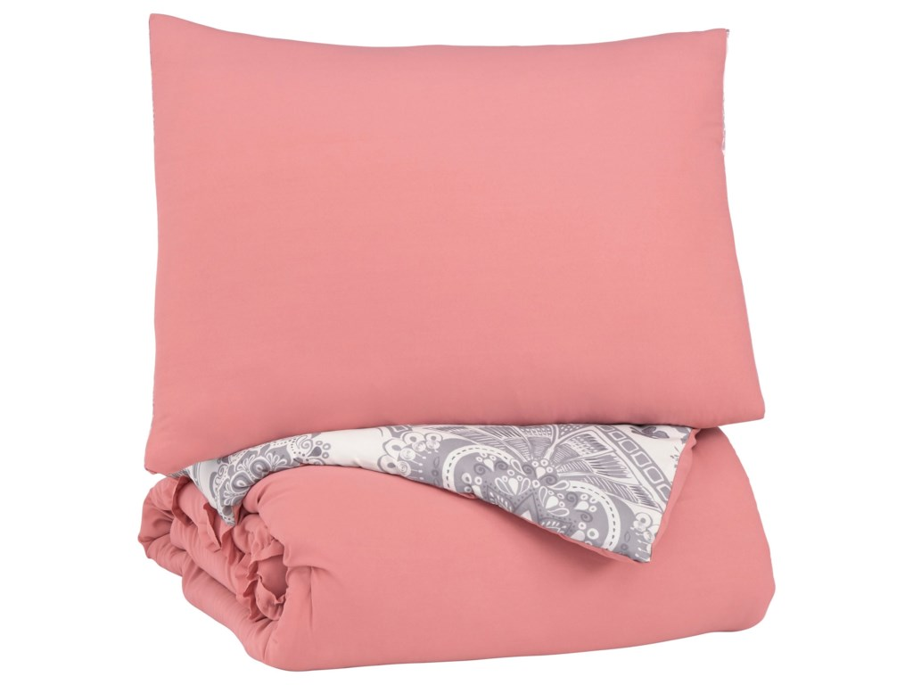 Signature Design by Ashley Bedding SetsTwin Avaleigh Pink/White/Gray Comforter Set