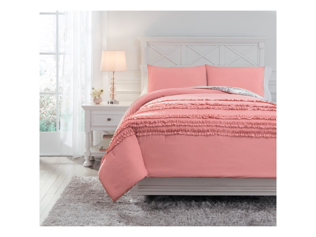 Signature Design by Ashley Bedding SetsFull Avaleigh Pink/White/Gray Comforter Set