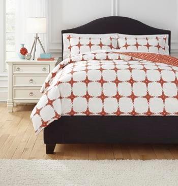 Ashley (Signature Design) Bedding SetsQueen Cyrun Orange Duvet Set