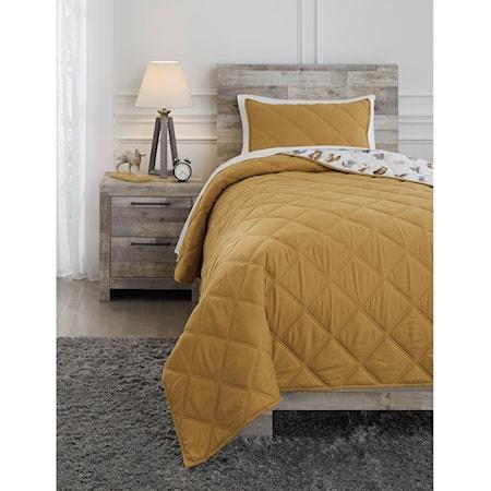 Twin Cooperlen Golden Brown Quilt Set