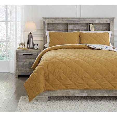 Full Cooperlen Golden Brown Quilt Set