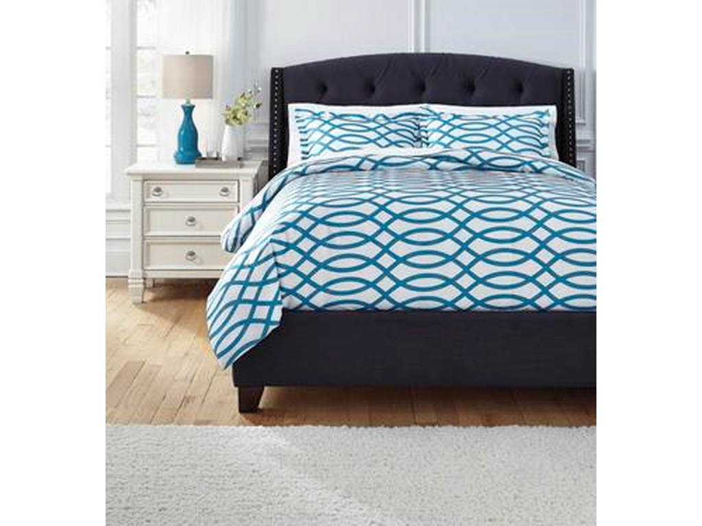 Signature Design by Ashley Bedding SetsQueen Leander Turquoise Duvet Set