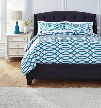 Ashley (Signature Design) Bedding SetsQueen Leander Turquoise Duvet Set