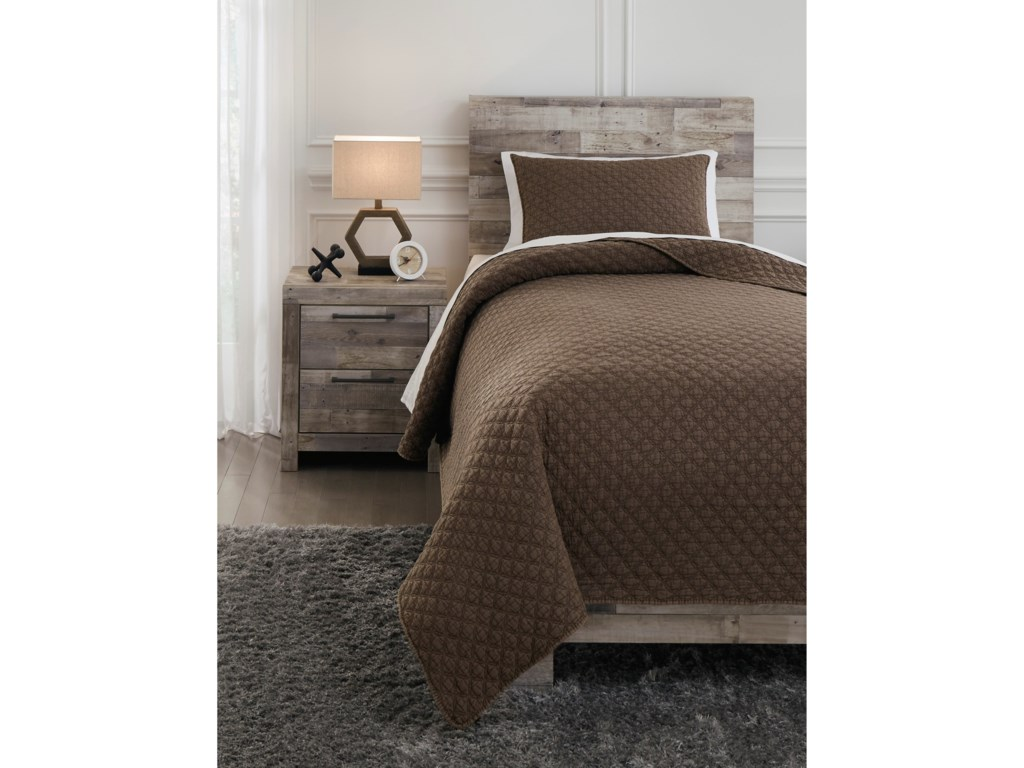 Signature Design by Ashley Bedding SetsTwin Ryter Brown Coverlet Set
