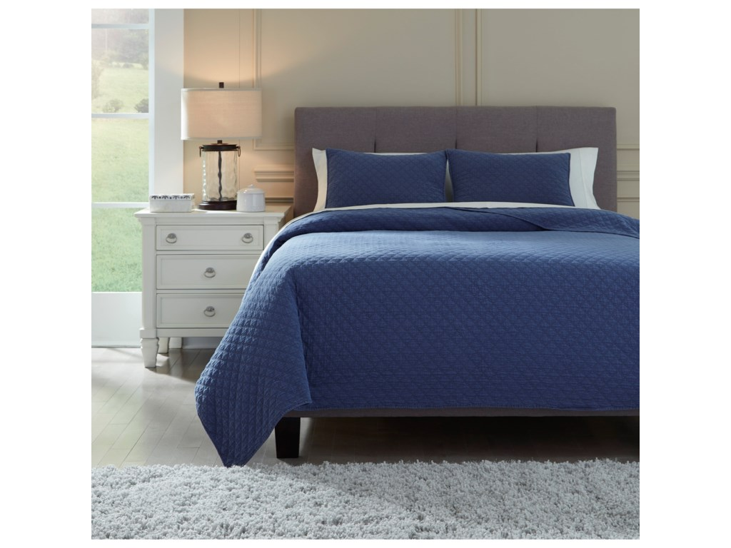 Signature Design by Ashley Bedding SetsKing Ryter Navy Coverlet Set