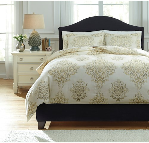 Signature Design by Ashley Bedding Sets Queen Fairholm Natural Duvet Cover Set