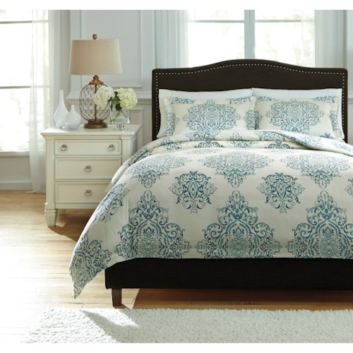 Signature Design by Ashley Bedding Sets Queen Fairholm Turquoise Duvet Cover Set