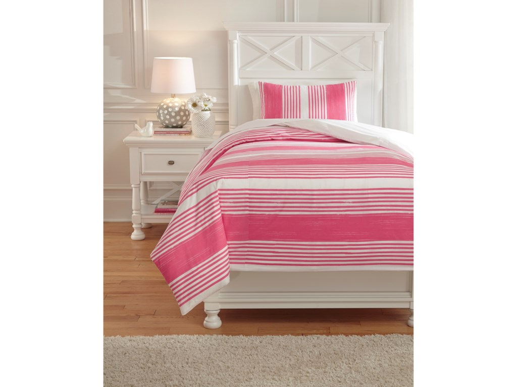 Signature Design by Ashley Bedding SetsTwin Taries Pink Duvet Cover Set
