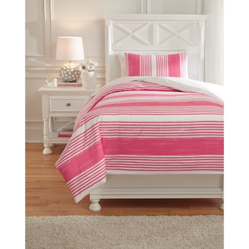 Signature Design by Ashley Bedding Sets Twin Taries Pink Duvet Cover ...