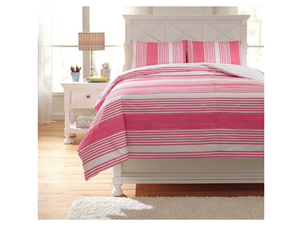 Signature Design by Ashley Bedding SetsFull Taries Pink Duvet Cover Set