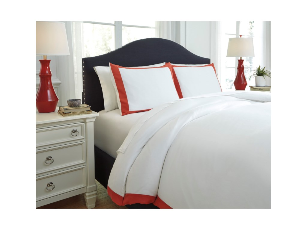 Signature Design by Ashley Bedding SetsKing Ransik Pike Coral Duvet Cover Set