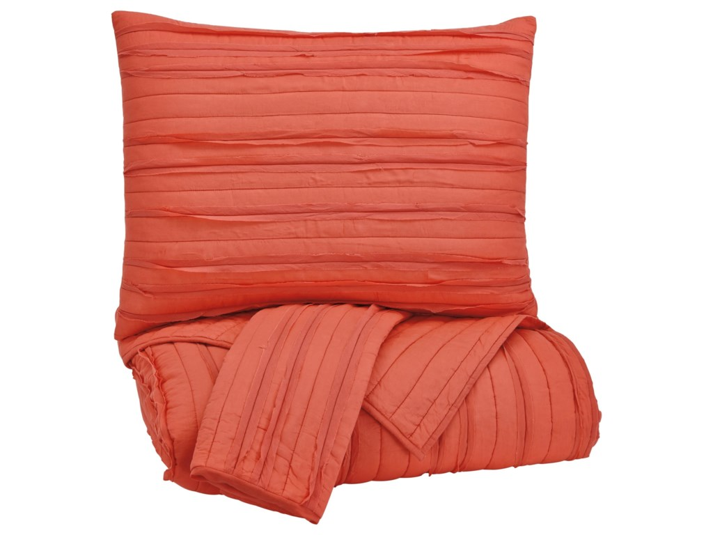 Ashley (Signature Design) Bedding SetsKing Solsta Coral Coverlet Set