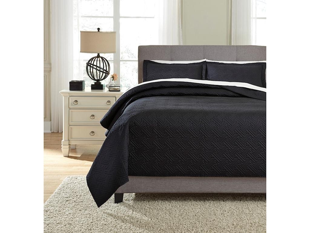 Ashley (Signature Design) Bedding SetsQueen Aldis Black Coverlet Set