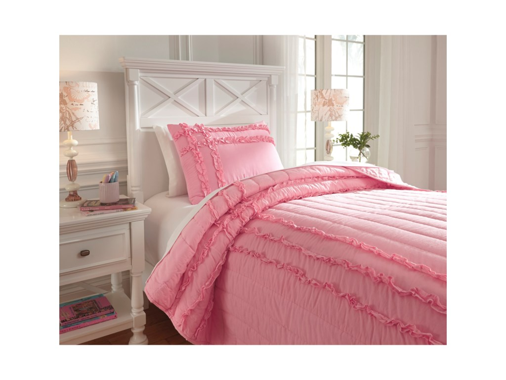 Ashley (Signature Design) Bedding SetsTwin Megara Pink Quilt Set