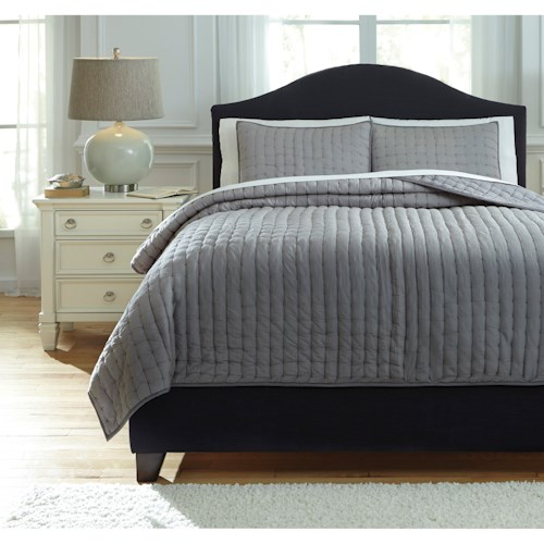 Signature Design by Ashley Bedding Sets Queen Teague - Gray Comforter Set