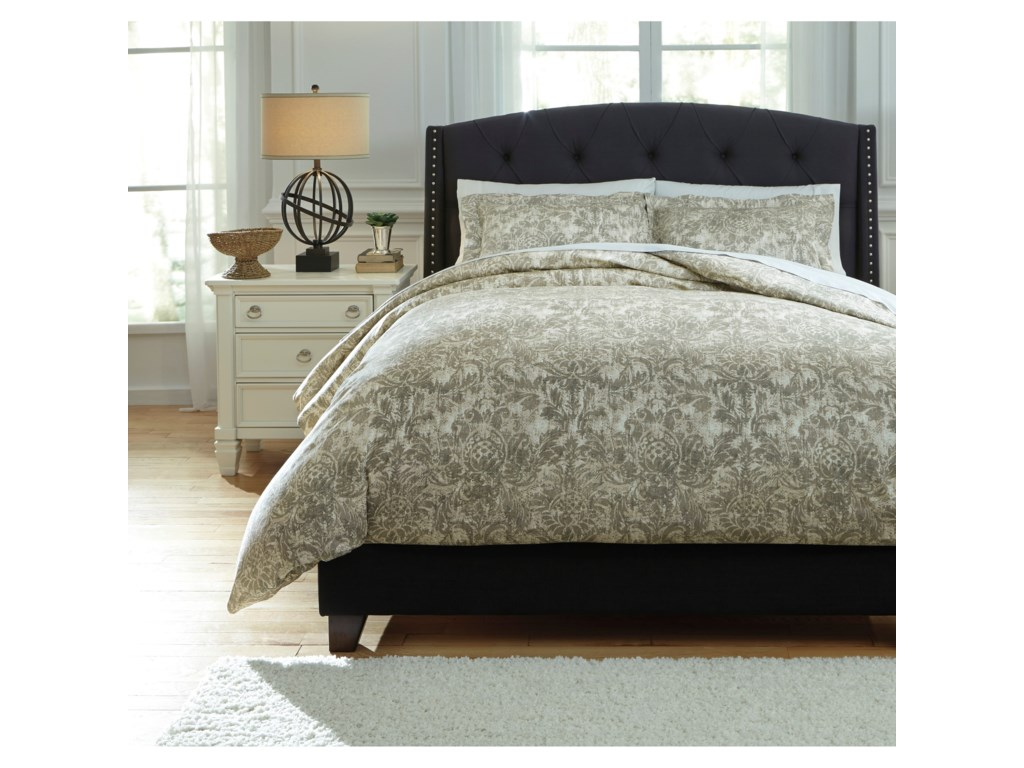 Signature Design by Ashley Bedding SetsKing Kelby Natural Duvet Cover Set