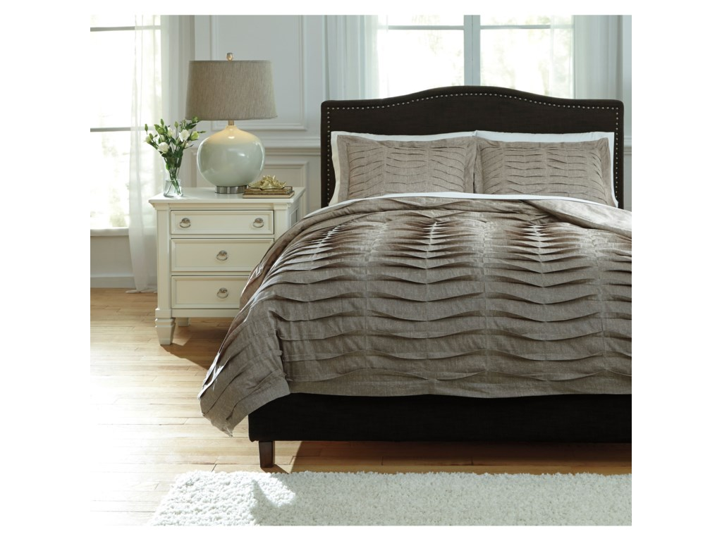Ashley (Signature Design) Bedding SetsKing Voltos Brown Duvet Cover Set