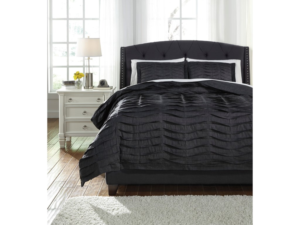Signature Design by Ashley Bedding SetsQueen Voltos Charcoal Duvet Cover Set