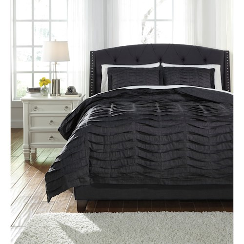Signature Design by Ashley Bedding Sets Queen Voltos Charcoal Duvet Cover Set
