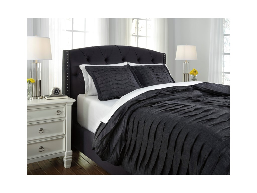 Ashley (Signature Design) Bedding SetsQueen Voltos Charcoal Duvet Cover Set