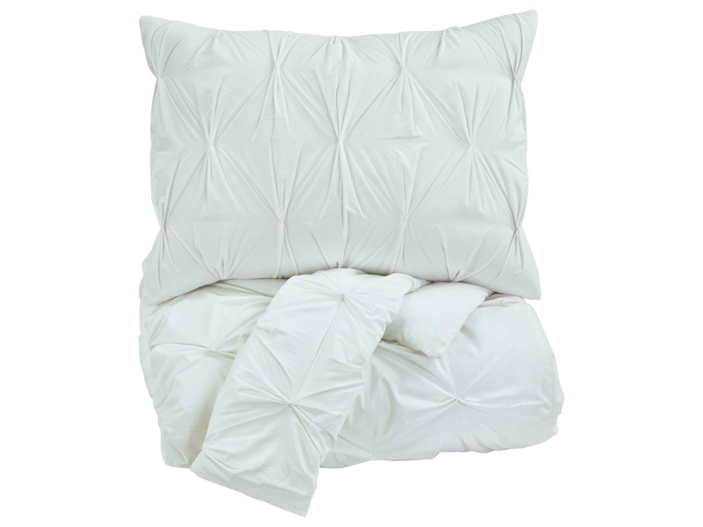 Ashley (Signature Design) Bedding SetsQueen Rimy White Comforter Set