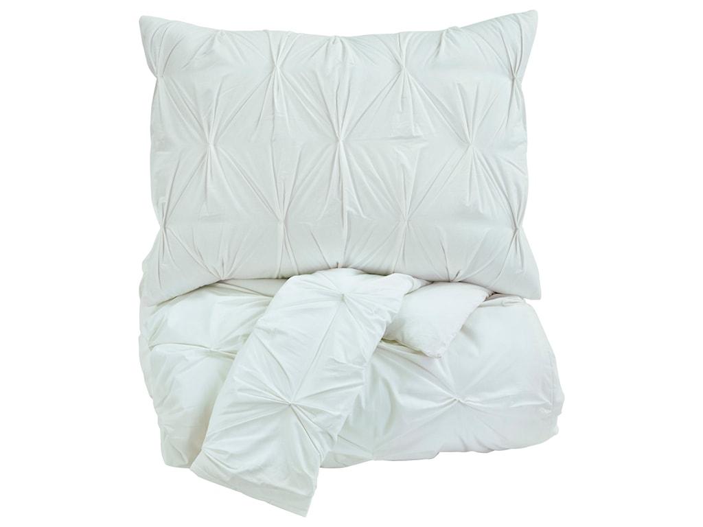 Signature Design by Ashley Bedding SetsKing Rimy White Comforter Set