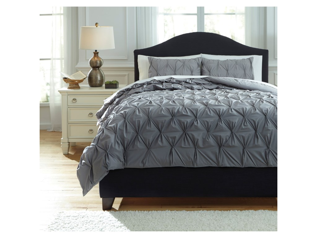 Ashley (Signature Design) Bedding SetsKing Rimy Gray Comforter Set