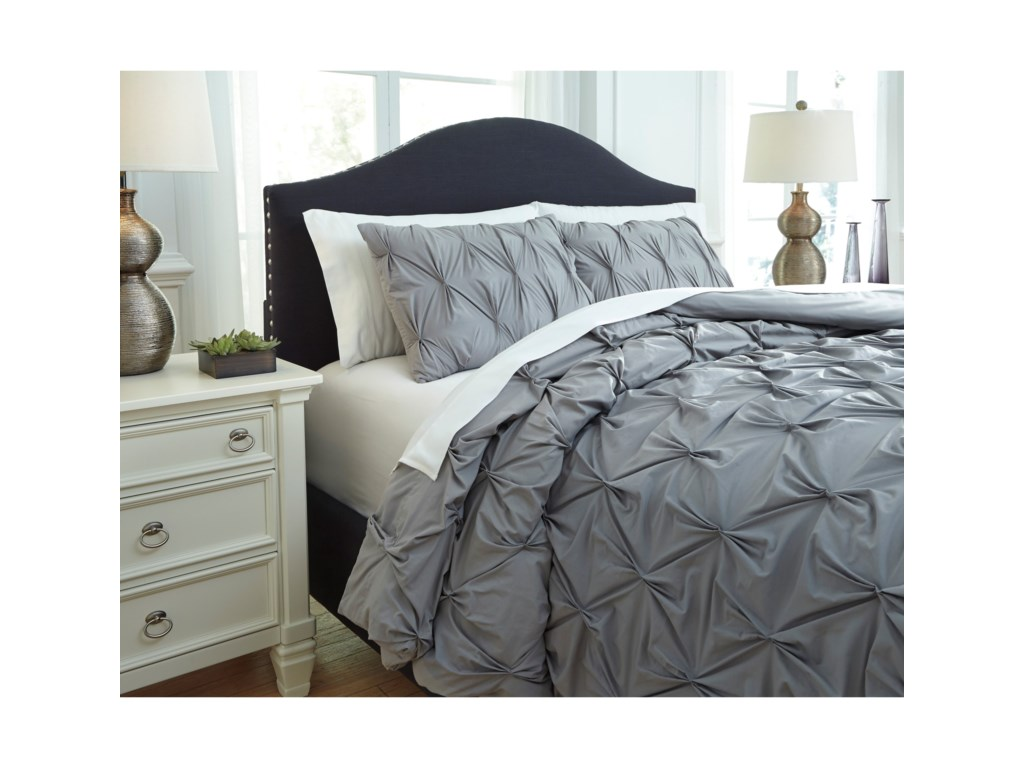 Ashley (Signature Design) Bedding SetsQueen Rimy Gray Comforter Set