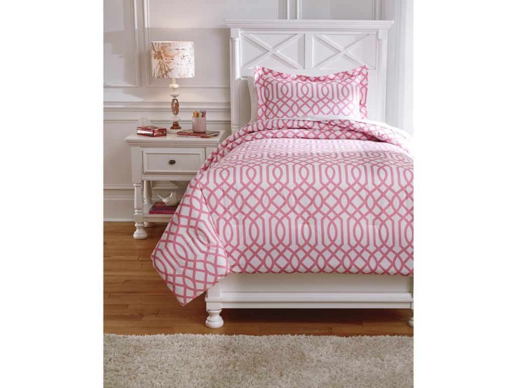 Signature Design by Ashley Bedding SetsTwin Loomis Pink Comforter Set